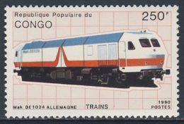 Congo Brazzaville 1991 Mi 1216 ** Mak DE 1024 Diesel-electric Locomotive, Germany / Schienentriebfahrzeug, Deutschland - Treinen