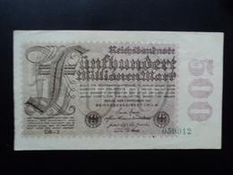 ALLEMAGNE : 500 MILLIONEN MARK  1.9.1923  P 110e   TTB+ / VF+ - [ 3] 1918-1933 : Weimar Republic