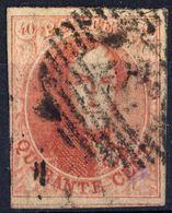 1858 - Nr 12 - Quarante Cents (°) 4 Brede Randen En Buur - 1858-1862 Médaillons (9/12)