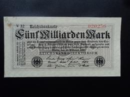 ALLEMAGNE : 5 MILLIARDEN MARK  20.3.1923    P 123a   TTB - [ 3] 1918-1933 : República De Weimar