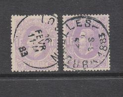 COB 36 Et 36a Oblitérés - 1869-1883 Léopold II