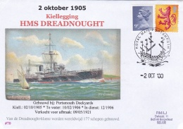 Ships: HMS Dreadnought Kiellegging 1905 Posted Portsmouth 2000     (DD15-36) - Militaria