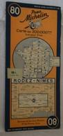 * Carte Pneu MICHELIN 80 - Rodez Nimes 1945 - Roadmaps