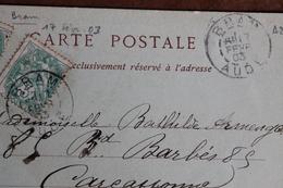 1903    BRAM     ( AUDE )   CACHET  MANUEL  ROND    DOUBLE  CERCLES      SUR   CARTE     POSTALE - Marcophilie (Lettres)