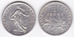1 FRANC SEMEUSE 1909 En ARGENT SUPERBE (voir Scan) - H. 1 Franc