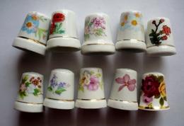 Lot De 10 Dés à Coudre Collection Porcelaine Dont Un Superbe En Fine Porcelaine De CHINE - FLEURS DIVERSES - Thimbles