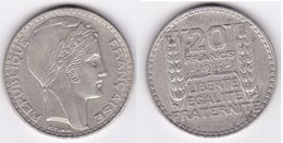 20 FRANCS TURIN  En Argent 1937 Superbe  (voir Scan) 4 - France