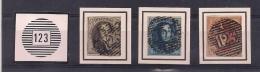VERVIERS P123   NR.6-7-8 + KEURMERK OP ZEGEL NR.7 - 1851-1857 Medallions (6/8)