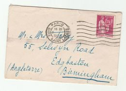 1938 FRANCE COVER 1.75f Stamps To GB - France
