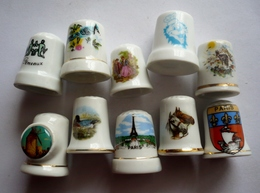 Lot De 10 Dés à Coudre Collection Porcelaine - MALLORCA  - PARIS -  CHEVAUX - CLOWN - OISEAUX Et Divers - Thimbles
