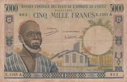 BILLET 5000 FRANCS BCEAO PICK 104 A SIGN 7 COTE D IVOIRE  VOIR SCAN - Estados De Africa Occidental