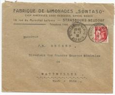H167 - STRASBOURG MEINAU Bas Rhin - 1936 - Timbre Type PAIX - Entête LIMONADES SONTASO Bières Eaux Minérales - - Alsace-Lorraine