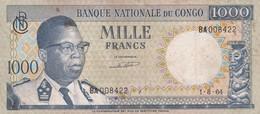 BILLET 1000 FRANCS 1964 CONGO PICK 8 BON ETAT  VOIR SCAN - Democratic Republic Of The Congo & Zaire
