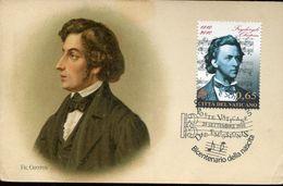 31377 Vaticano, Maximum 2010, Frederick Chopin, Music Composer (vintage Card) - Musik