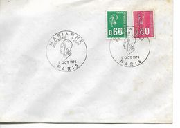 Enveloppe Premier Jour Timbres Marianne 5 Octobre 1974. - Documenti Della Posta