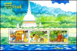 BUDDHISM-VESAK-MEDITATION-BODHI TREE Etc-MS-SRI LANKA-MNH-ABSL-10 - Buddhism