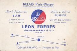 Hôtel Restaurant Bar Relais Paris Dieppe LEON FRERES GOURNAY EN BRAY (S.-Mme) - Cartes De Visite