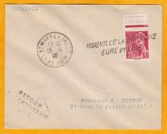 Octobre 1940 - Enveloppe De Houville La Branche, Eure Et Loir à St Mars La Jaille, Loire Inférieure - Griffe Linéaire - 1921-1960: Moderne
