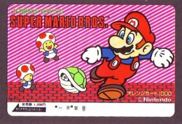 Carte Prépayée Japon * NINTENDO * SUPER MARIO BROS (85) JAPAN PREPAID CARD * Karte * TURTLE * JR - Comics