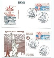 16288 -  2 PLIS ST PIERRE ET MIQUELON MISS LIBERTY 1986 - Lettres & Documents