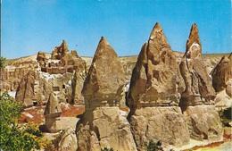 TURCHIA - ZELVE - CAPPADOCIA -CAMINETTI E RIFUGI DEI PRIMI CRISTIANO - VIAGGIATA FRANCOBOLLO ASPORTATO - Turchia