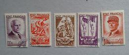 LES 5 TIMBRES DE LA BANDE 580A OBLITERES COTE 92€lo - 1941-42 Pétain