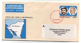 Nicaragua POPE VISIT USED AEROGRAMME TO Pirmasens Germany BRD - Nicaragua