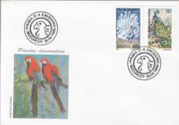 BIRDS, PEACOCK, PARROTS, COVER FDC, 1999, ROMANIA - Peacocks