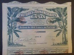 1 Sté Cultures Bananeraies KIN-SAN Guinée 1927 - Aandelen