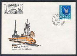 Switzerland Schweiz Suisse 1984 Cover / Brief / Lettre - Inauguration TGV Paris - Lausanne - 19.01.1984 - Treni