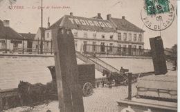 Saint Anne Kaai Cafe Restorant En Paarden Gespan -  Gelopen 1909  RR . - Antwerpen