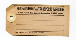 """Etiquette Américaine 1965 """"Régie Autonome Des Transports Parisiens - RATP"""" Métro - Train - Chemin De Fer - Paris - Transportation Tickets"""