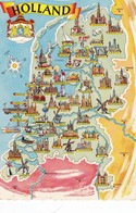 Postcard Map Of Holland My Ref  B22370 - Maps