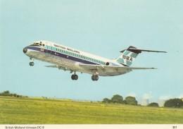 British Midlands Airways DC-9 Airplane, C1970s/80s Vintage Charles Skilton Postcard - 1946-....: Moderne