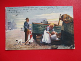 CPA ILLUSTRATEUR RAPHAEL THUCK OILETTE  ON THE BEACH BARQUES FEMME FILLETTE CHIEN - Tuck, Raphael