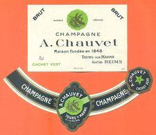 étiquette Ancienne + Collerette De Champagne Brut Cachet Vert A Chauvet à Tours Sur Marne - 75 Cl - Champagne