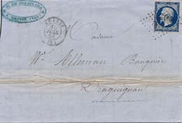 Lettre N°14 Foncé Pc Grasse Var Pour Draguignan - 1849-1876: Classic Period