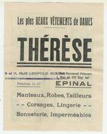 Publicité Du Magasin Therese à EPINAL Avec Planche D'images Au Dos (voir Scans) - Publicités