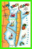 CARTES GÉOGRAPHIQUES - MAP - LONG BEACH ISLAND -, NEW JERSEY -  TRAVEL IN 1988 -  PUB. BY AMERICAN POSTCARD CO - - Cartes Géographiques