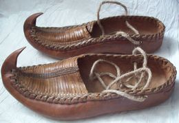 Vintage Ethnic Serbian Handmade Leather Shoes OPANKE With Curled Toes - Mint (not Used) - Shoes
