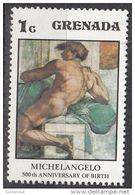 """Grenada 1975 Sc. 677 """"IGNUDO ( Dettaglio )"""" Affresco Dipinto Da Michelangelo Buonarotti Nuovo MNH Painting - Nudes"""