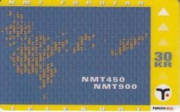 FAROE ISL. - Map, NMT450/NMT900(21), Tirage 8990, 09/98, Used - Faroe Islands