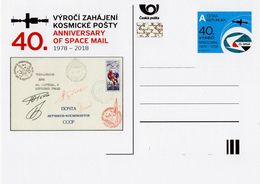 Czech Republic - 2018 - 40th Anniversary Of Space Mail - Special Postcard With Hologram - Cartes Postales
