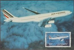 Nouvelle Calédonie 1994 Y&T PA 311. Carte Maximum. Première Liaison Aérienne Paris-Nouméa Par Airbus A340. Air France - Aerei