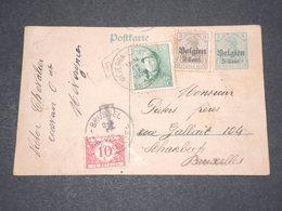 BELGIQUE - Taxe De Bruxelles Sur Entier Postal Surcharge D 'occupation Allemande En 1920 - L 14587 - België