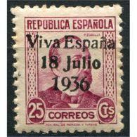 """C05712 - Santa Cruz De Tenerife, Sobrecarga Patriótica, """"Viva España 18 Julio 1936"""" [N] Sobre 25c, Edifil 42, * - Emisiones Nacionalistas"""