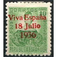 """C05711 - Santa Cruz De Tenerife, Sobrecarga Patriótica, """"Viva España 18 Julio 1936"""" [R] Sobre 10c, Edifil 41, * - Emisiones Nacionalistas"""