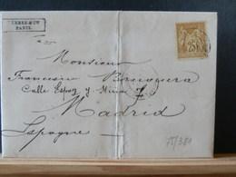 75/381    LETTRE DE PARIS POUR MADRID 1880 TIMBRE FISCAL INTERIEUR - 1876-1898 Sage (Type II)