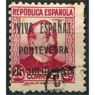 "C05709 - Pontevedra, Sobrecarga Patriótica, ""¡Viva España! Pontevedra 20 Julio 1936"" [N] Sobre 25c, Edifil 10, Usado - Emisiones Nacionalistas"