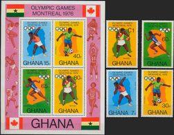 //// JO 1976 - GHANA - Yvert : 553 / 556** + BF 62** - Michel : 646 / 649** + Block 65** - Ete 1976: Montréal